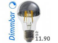LED top silver dome Lamp : onlux FiLux A60-4EDS E27 DIM 4-Filament LED 230V - 7.4W 680lm Ra>80 Re-180°(60W)