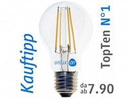 LED Lampe : onlux FiLux A60-4E E27 4-Filament LED 230V - 5.8W 810lm Ra>80 300°(60W)